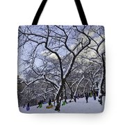 Snowboarders In Central Park Tote Bag