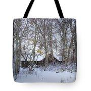 Snowed Cabin Tote Bag