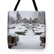 Snowfall At Longview Mansion Tote Bag