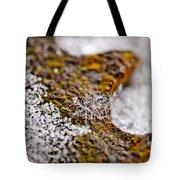 Snowflake On Rust Tote Bag