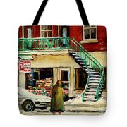 Snowing At The Five And Dime Tote Bag
