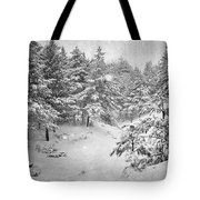 Snowing At The Forest Tote Bag