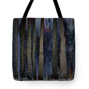 Snowing In The Ice Forest At Night Tote Bag