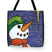 Snowman And Star Tote Bag