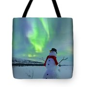 Snowman And The Aurora Tote Bag