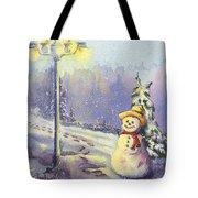 Snowman Enyoying The Light Tote Bag