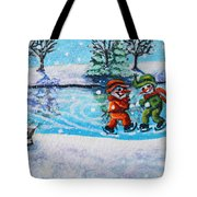 Snowman Friends Ice Skating  P2 Tote Bag