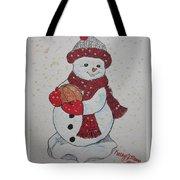 Snowman Playing Basketball Tote Bag