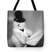 Snowman Playing The Piano In Bw Tote Bag