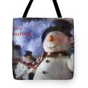 Snowman Season Greetings Photo Art 01 Tote Bag