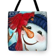 Snowman W/ Cardinal Visitor Tote Bag