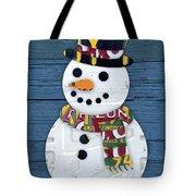 Snowman Winter Fun License Plate Art Tote Bag
