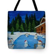 Snowmans Hockey Two Tote Bag