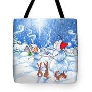 Snowmen And Christmas Star Tote Bag