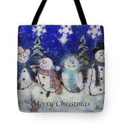 Snowmen Merry Christmas Photo Art Tote Bag