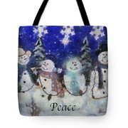 Snowmen Peace Photo Art Tote Bag