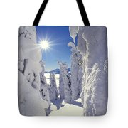 Snowscape Snow Covered Trees And Bright Sun Tote Bag