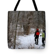 Snowshoeing In The Park Tote Bag