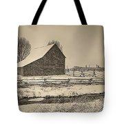 Snowstorm At The Ranch Sepia Tote Bag