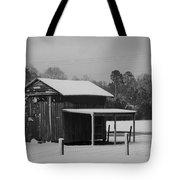 Snowy Barn Bw Tote Bag
