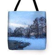 Snowy Beach Impressions Tote Bag