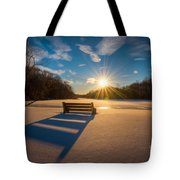 Snowy Bench Tote Bag