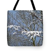 Snowy Branches With Blue Sky Tote Bag