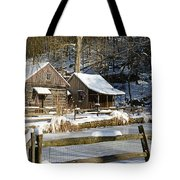 Snowy Cabins Tote Bag
