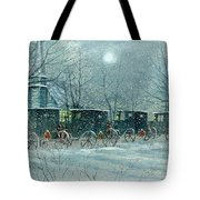 Snowy Carriages Tote Bag