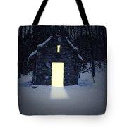 Snowy Chapel At Night Tote Bag