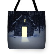 Snowy Chapel At Night Tote Bag