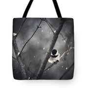 Snowy Chickadee Tote Bag by Shane Holsclaw