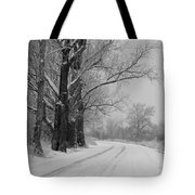 Snowy Country Road - Black And White Tote Bag