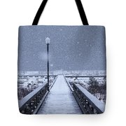 Snowy Day On The Boardwalk Tote Bag