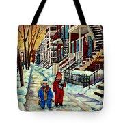 Snowy Day Rue Fabre Le Plateau Montreal Art Winter City Scenes Paintings Carole Spandau Tote Bag