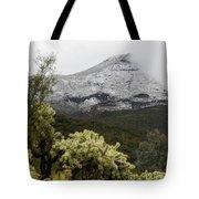 Snowy Desert Mountain Tote Bag