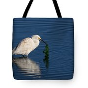 Snowy Egret Catches Sushi And Seaweed Tote Bag