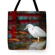 Snowy Egret Stalking His Lunch Tote Bag