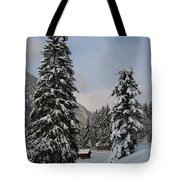Snowy Fir Trees  Tote Bag
