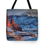 Snowy Fisher Towers Tote Bag