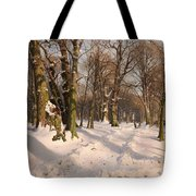 Snowy Forest Road 1908 Tote Bag