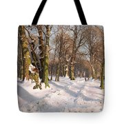 Snowy Forest Road In Sunlight Tote Bag