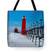 Snowy Grand Haven Pier Tote Bag