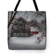 Snowy Grey And Red Tote Bag