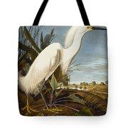 Snowy Heron Or White Egret Tote Bag