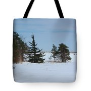 Snowy Hillside With Evergreen Trees And Bluesky Tote Bag