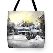 Snowy Home Tote Bag