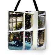 Snowy Inn Window Tote Bag