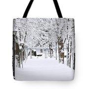 Snowy Lane In Winter Park Tote Bag