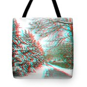 Snowy Lane - Use Red/cyan Filtered 3d Glasses Tote Bag